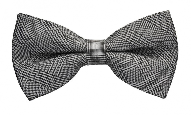 Silk Check Black Grey Bow Tie